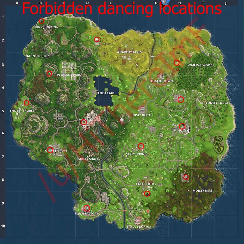 Fortnite-Forbidden-dancing-locations-guide